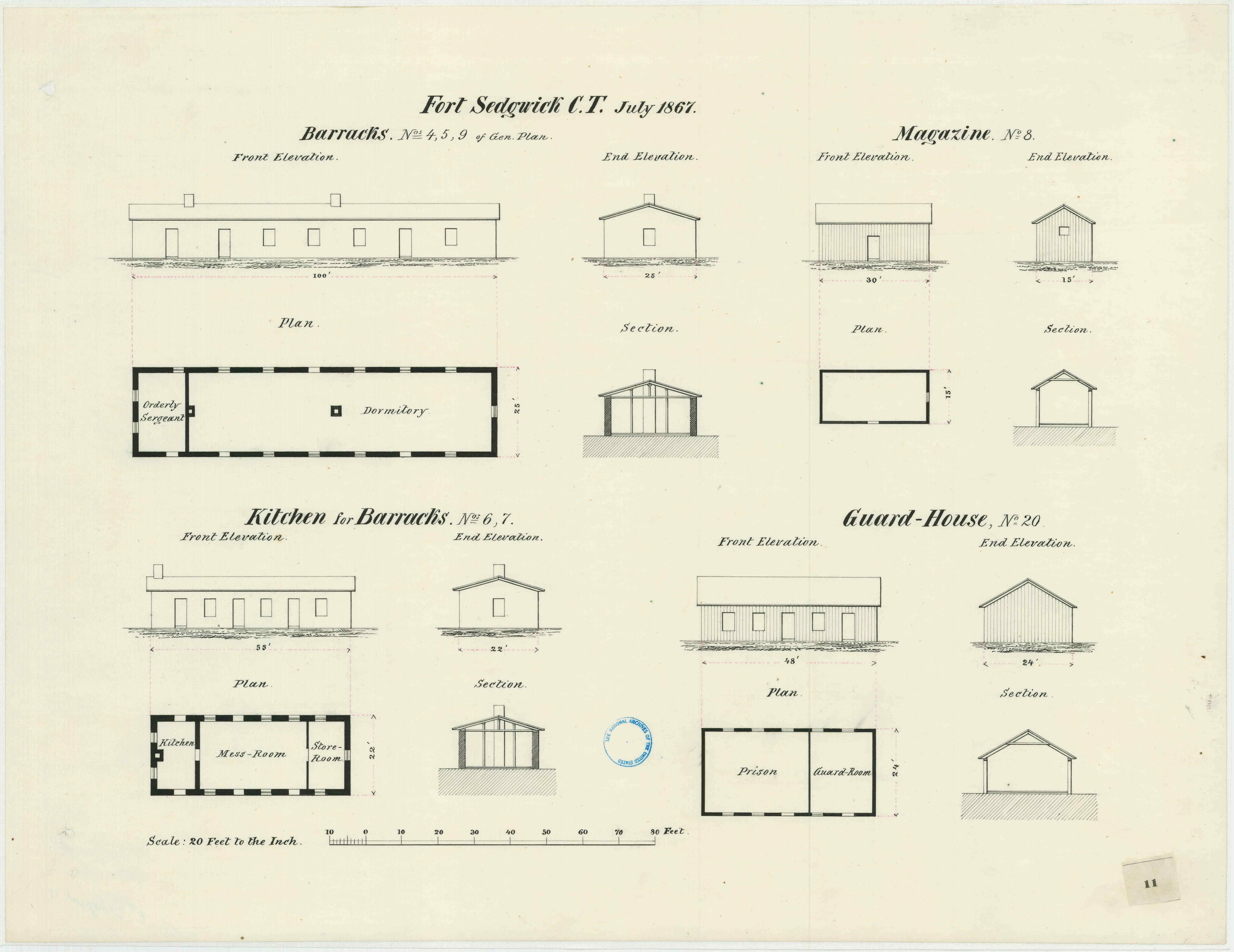 July 1867 military architectural plans for the barracks, kitchen, magazine and guard house at Fort Sedgwick (Courtesy of the Map Division, Archives II, NARA)