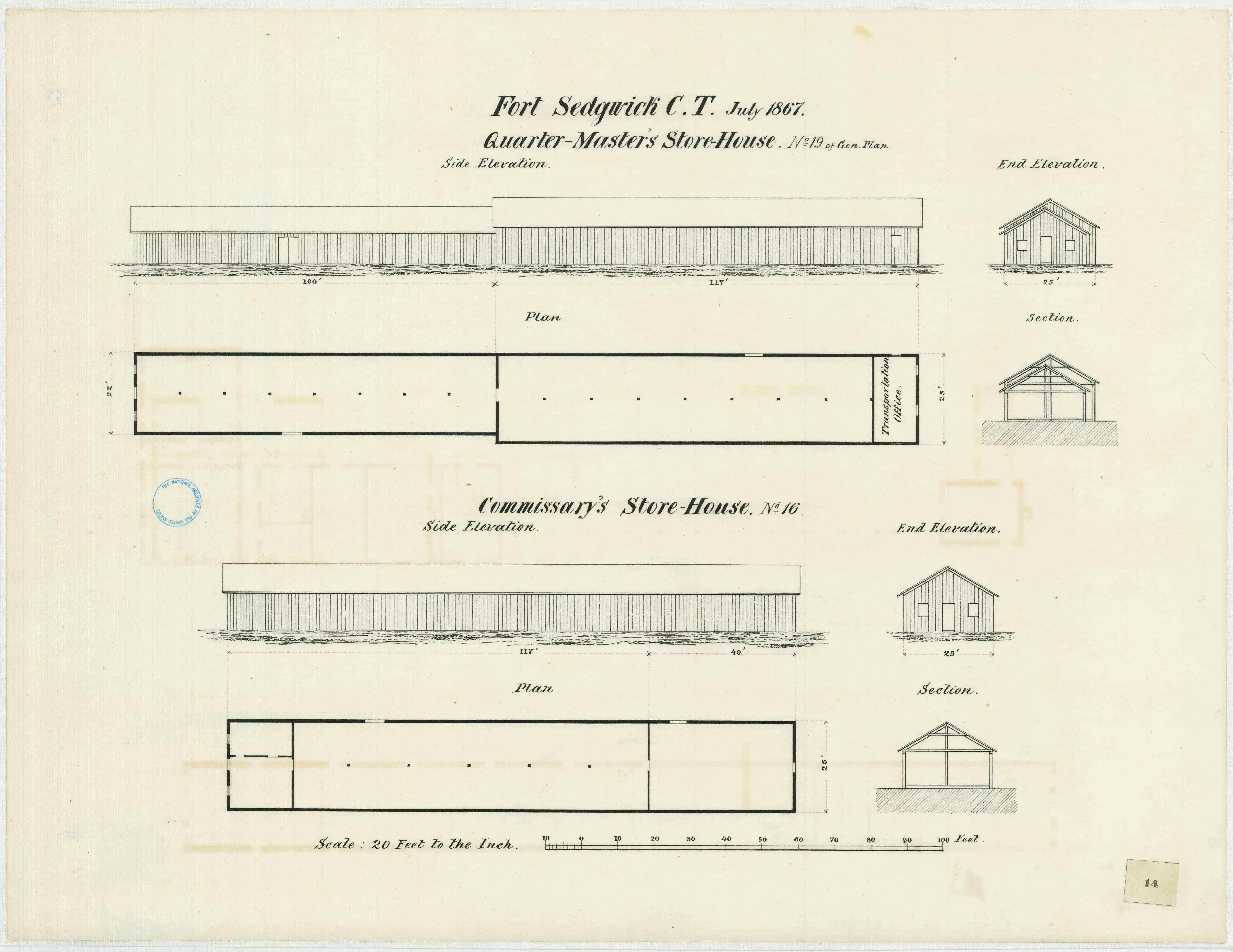 July 1867 military architectural plans for the quartermaster's store houses and saddler's shop at Fort Sedgwick (Courtesy of the Map Division, Archives II, NARA)