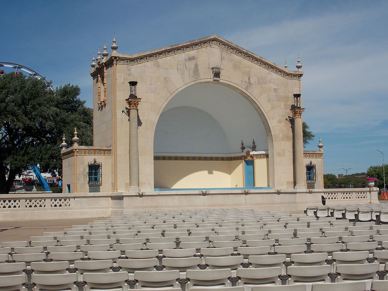 The LeClaire Park Bandshell was built in 1924.