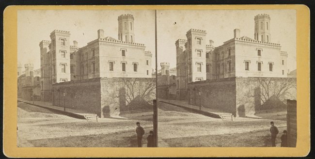 The Old Charleston Jail before the 1886 earthquake that caused the octagonal wing and fourth floor of the jail to be damaged and then removed.