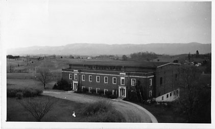 Early exterior view of the gymnasium
