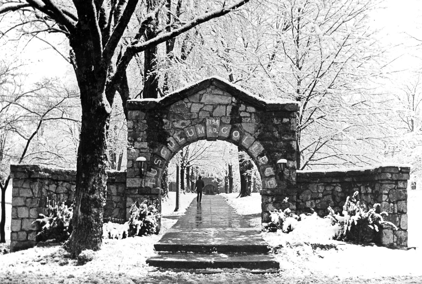 The arch under snowfall.