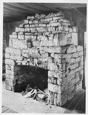 The front-room fireplace in the original Academy building.