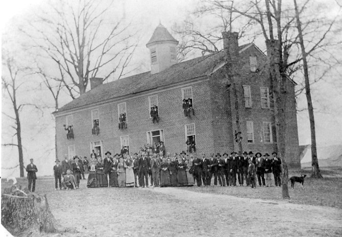 Students gathered in front of Old College, 1800s