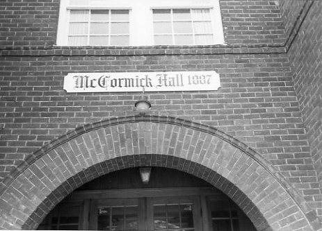 McCormick Hall sign located above the entrance.