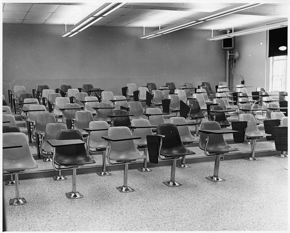 When the Science Hall was renovated in the 1960s, a large, modern lecture hall was installed on the first floor.  Photograph taken 1971.