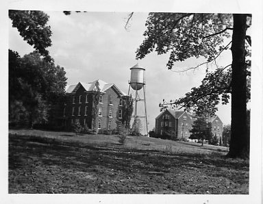 View of Craig Hall with the water tower and Rankin Hall to the rear.