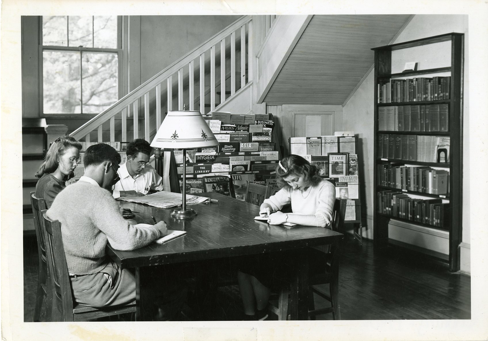Students working in present day Tate Library, circa 1930s-1940s.