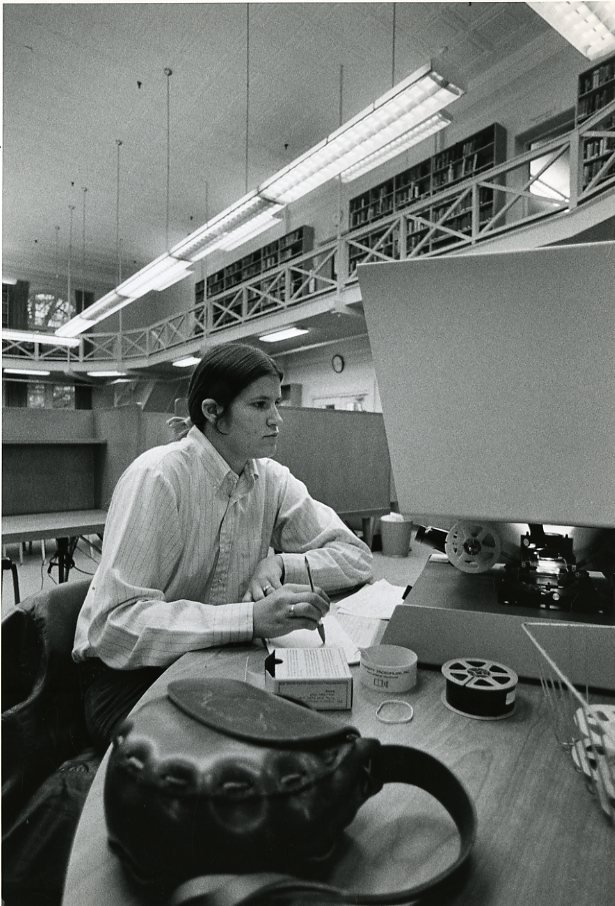 Student working, circa 1970s-1980s.