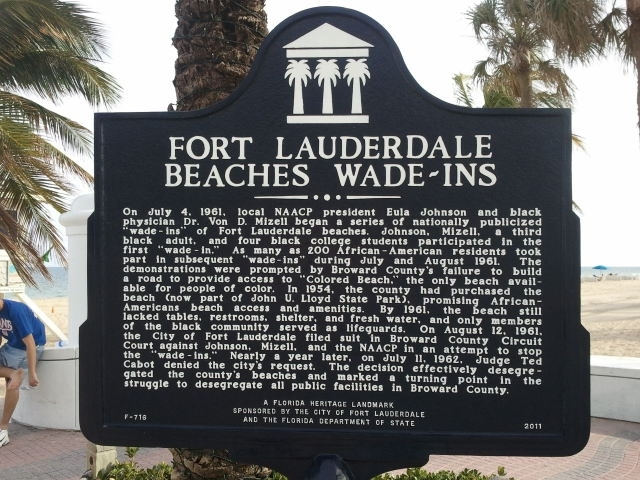 The marker commemorates the 1961 wade-ins that desegregated Broward County beaches. It is located at the end of Las Olas Boulevard.