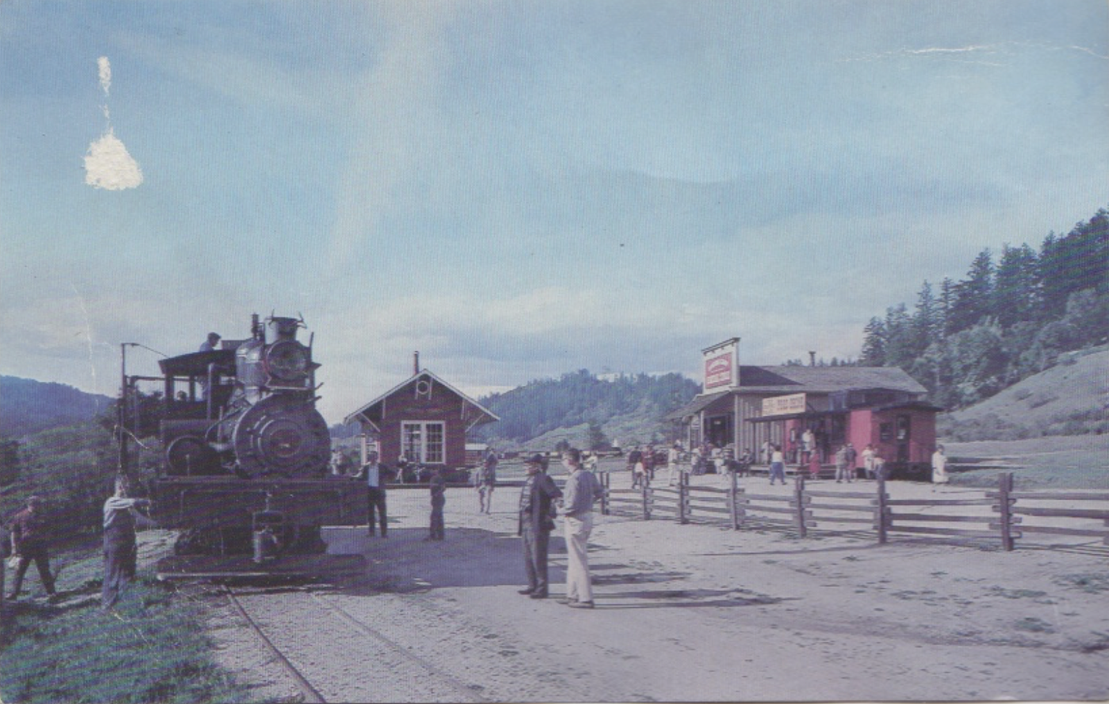 """The park's first locomotive, the """"Dixiana Shay,"""" named after its manufacturer (Shay) and town of origin (Dixiana, Indiana). This photograph was taken in 1966, only three years after the attraction opened (Santa Cruz Trains)."""