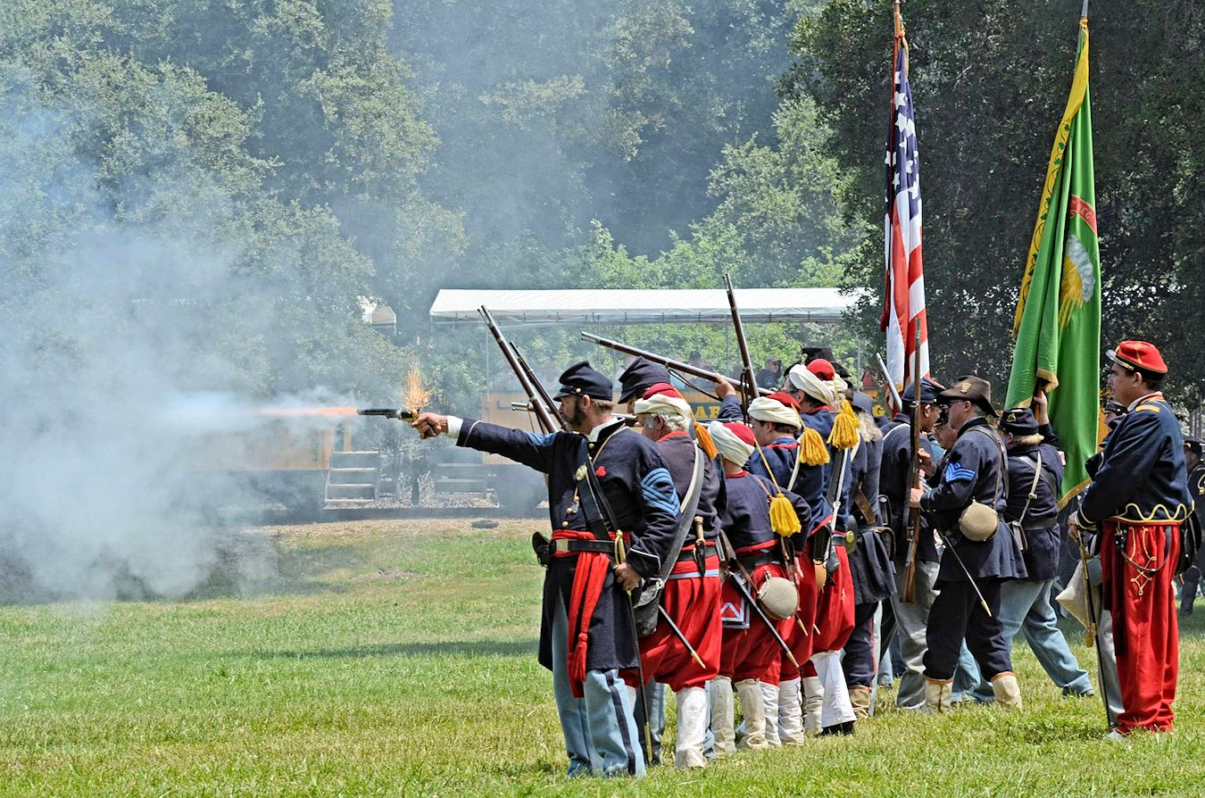 Annual Civil War reenactments are held on a large field at Roaring Camp as part of Memorial Day celebrations.
