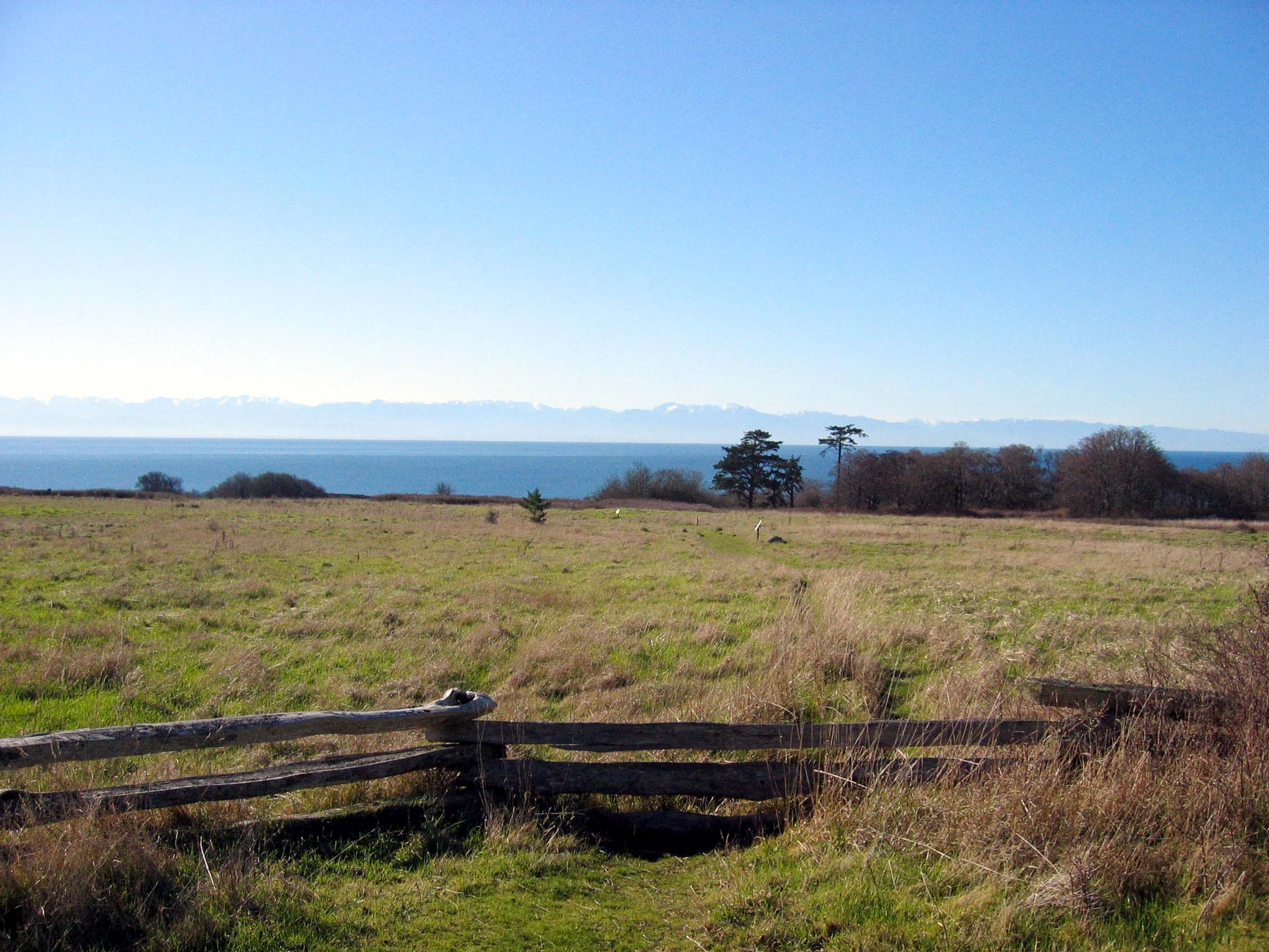 """The view of the Puget Sound from the Belle Vue Sheep Ranch site. It was here that """"Pig War"""" began in 1859."""
