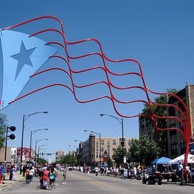 """One of the two Puerto Rican flags found on """"El paseo Boricua""""."""