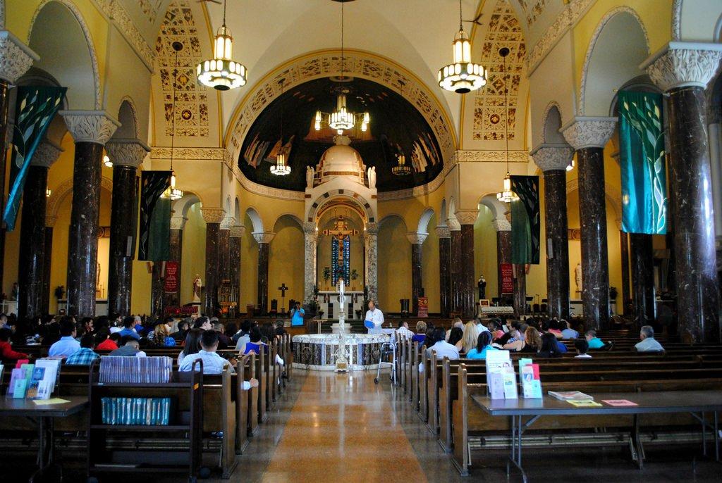 The interior of St. Rita when entering through the front
