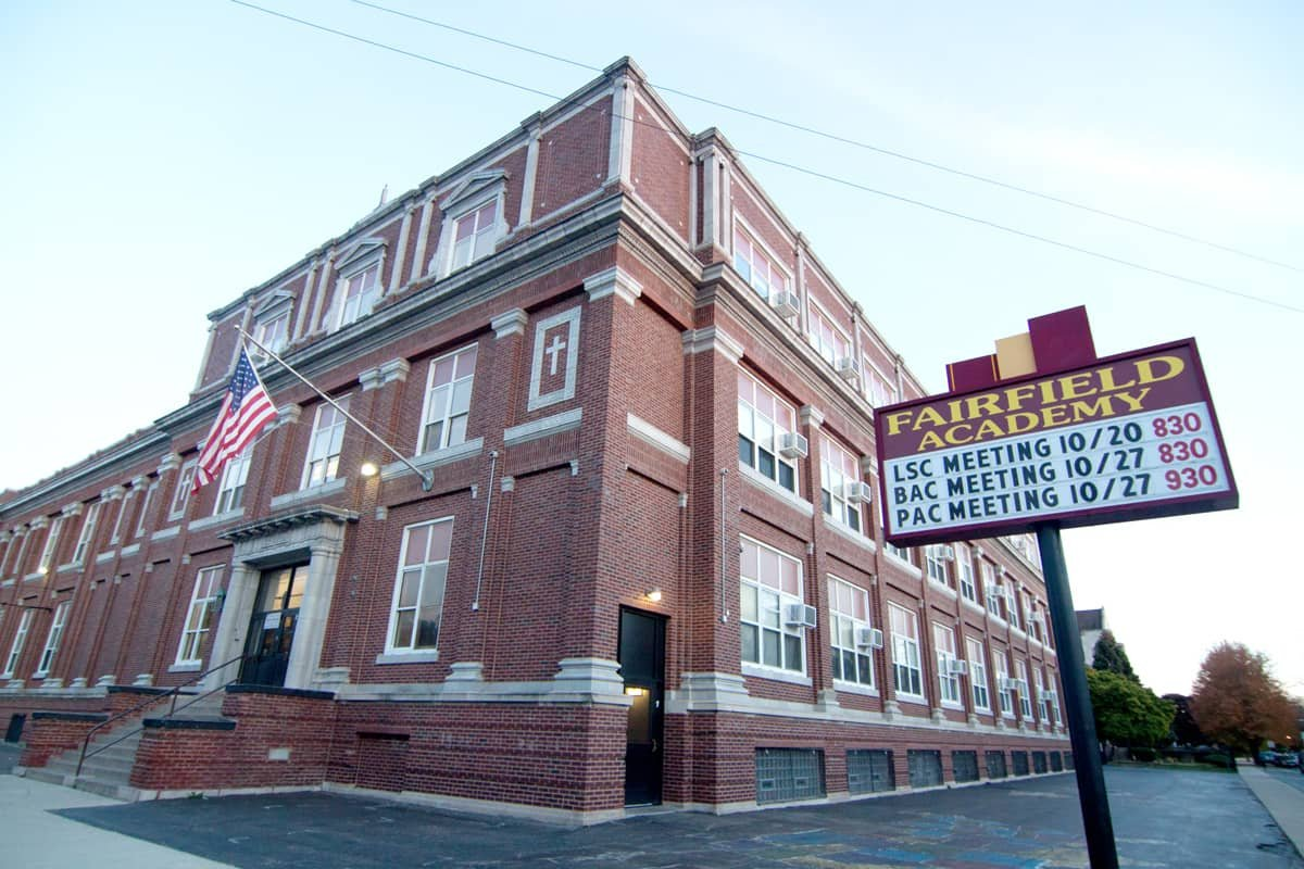 Fairfield Academy as it looks today, formally known as St. Rita Grammar School, now rented out to Chicago Public Schools.