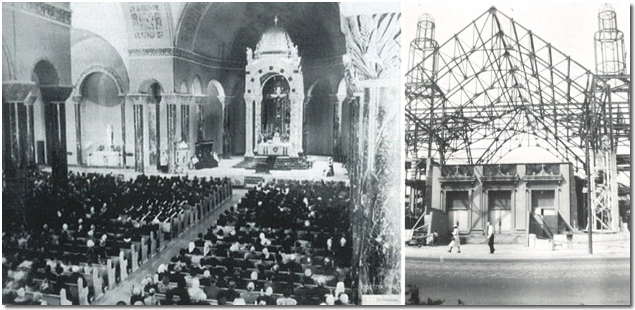 St. Rita of Cascia Parish during its construction and later its completion in the 1940s.