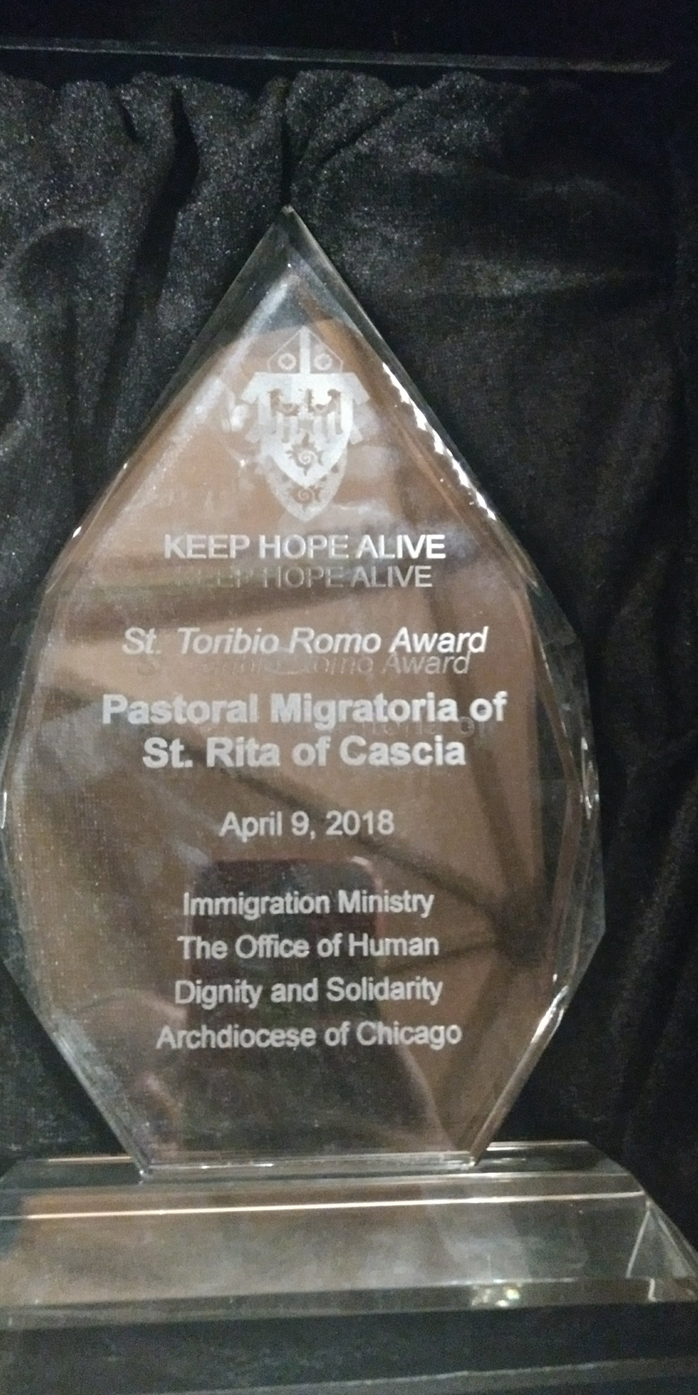 St. Toribio Romo Award, given to St. Rita's Pastoral Migratoria on April 9, 2018, for its contribution to the immigrant community.