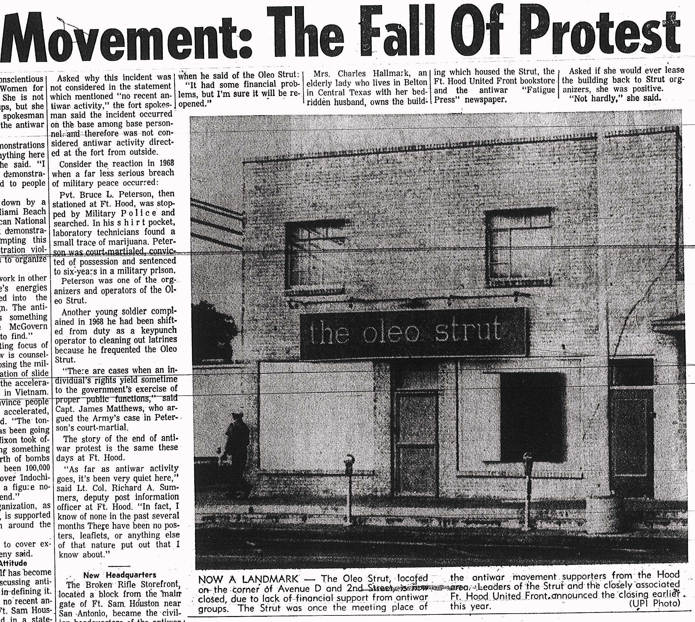 Newspaper clipping when Oleo Strut was shut down.