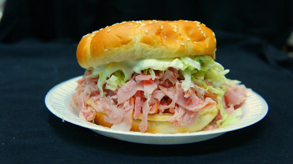The signature Sugar-Flaked Ham Sandwich