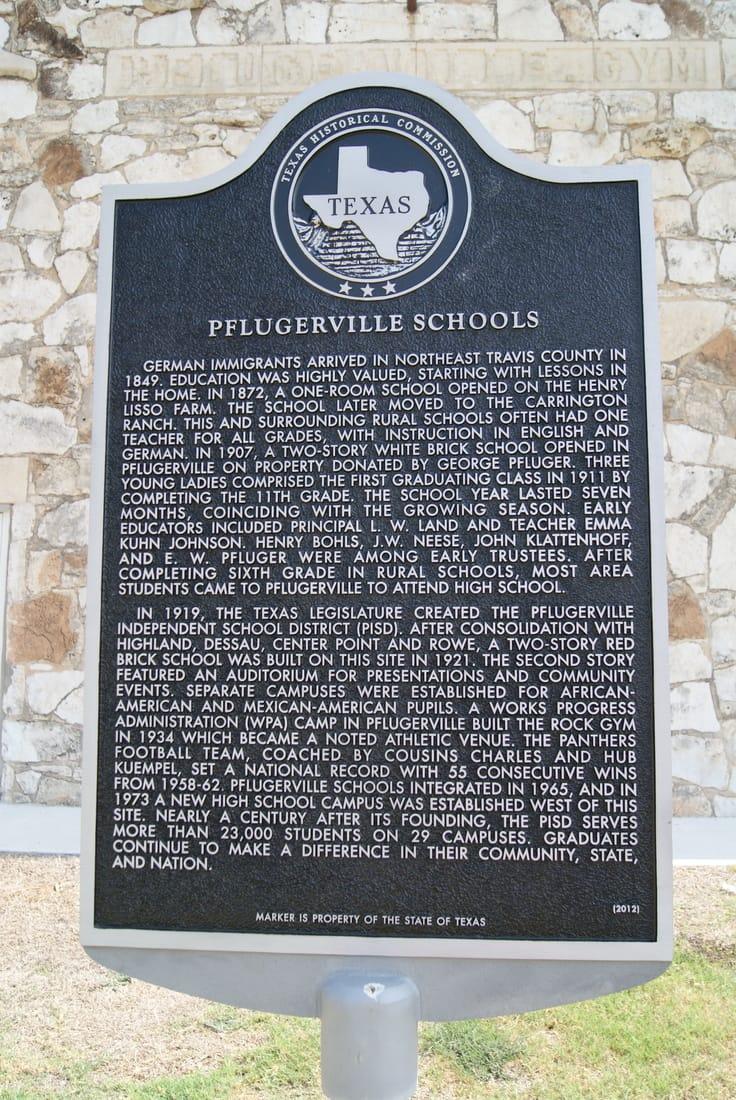 Pflugerville Schools Historical Marker