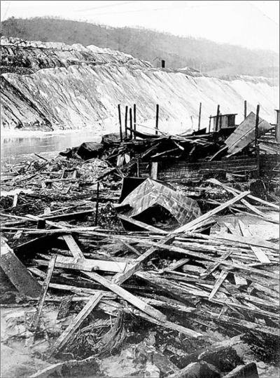 Piles of rubble after the muck dam collapse