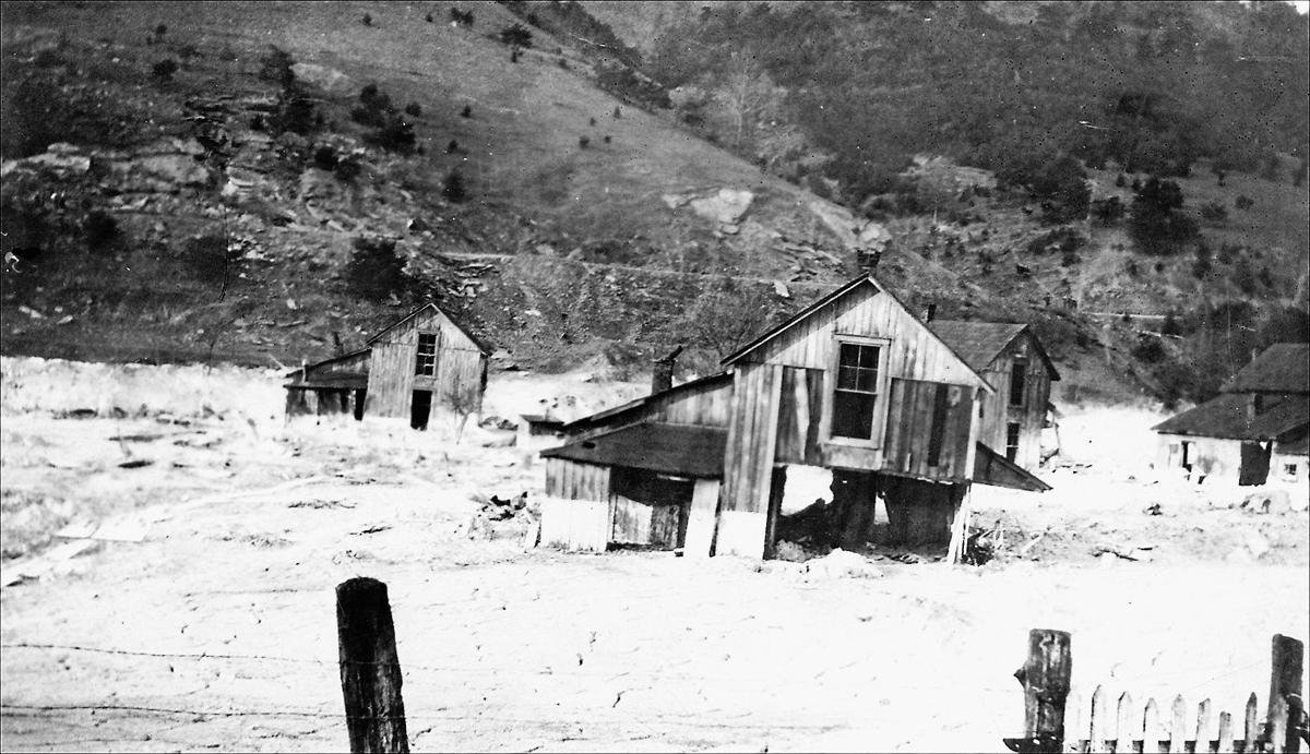 Houses destroyed by the muck dam collapse