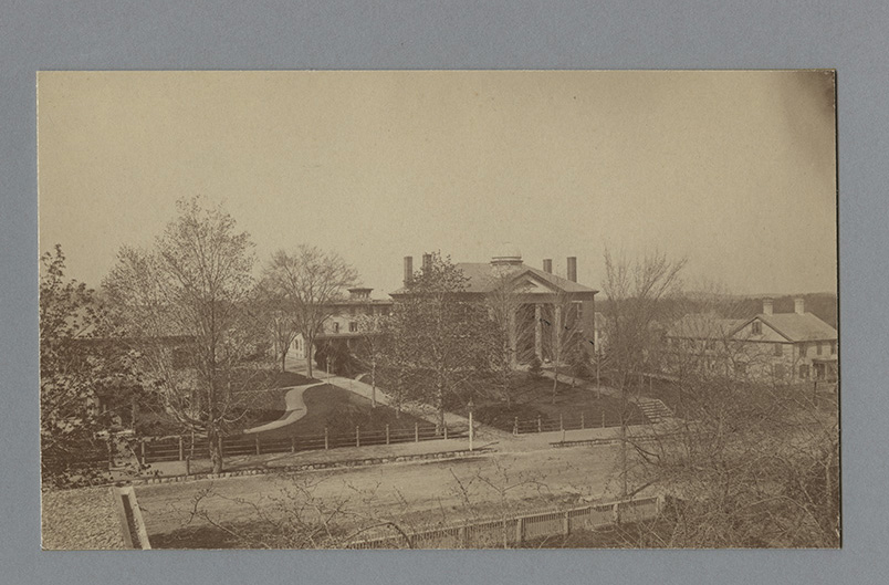 Abbot Academy, 1885. Left to right: South Hall, Smith Hall, Abbot Hall, and Davis Hall.