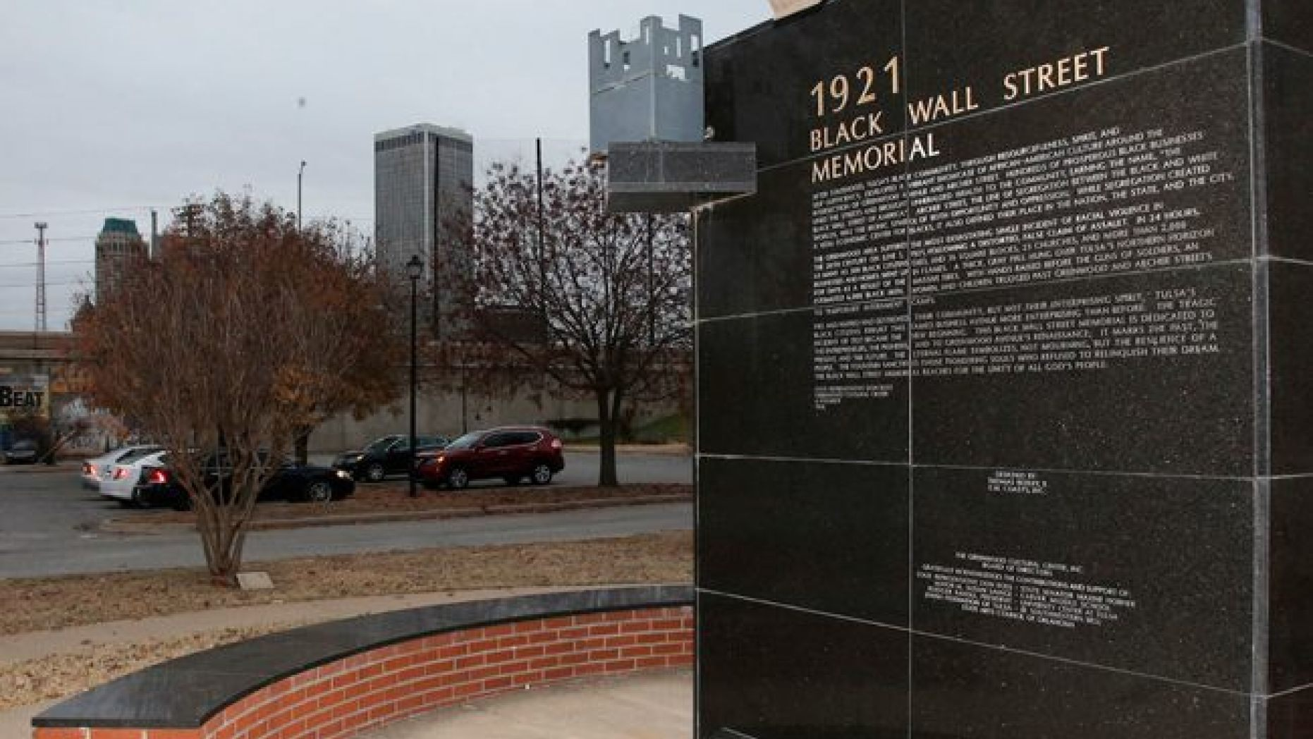 The Memorial created as a result of the Tulsa Race Reconciliation Act that was placed outside the Greenwood Cultural Center near downtown Tulsa, Oklahoma.