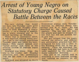 A newspaper clipping from the Tulsa Daily World newspaper on June 1st, 1921 detailing the events that started the Tulsa Race Riots.