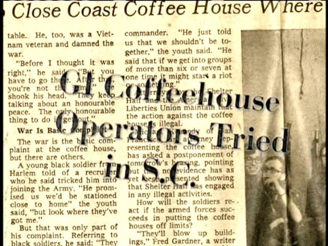 A still of a newspaper mentioning the activities that happened because of the GI Coffeehouse in Columbia, SC.