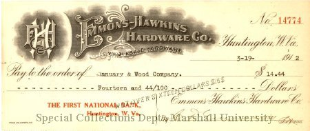 Bank check from Emmons-Hawkins Hardware dated March 19, 1912