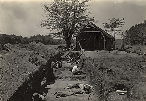 Men working at Indian Knoll under the Works Progress Administration.
