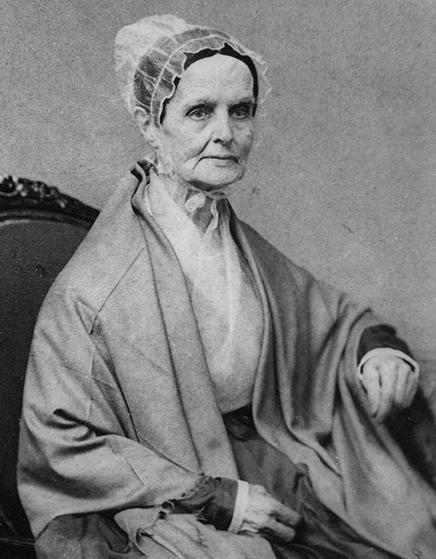 An image of Lucretia Mott, a key member in the Philadelphia Female Anti-Slavery Society. The Quaker preacher was one of the founders of the organization and is recognized as one of the most important figures in the Women's Rights Movement.