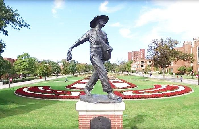 """The Sower"" is a historic statue located at the entrance to the South Oval of the Norman campus."