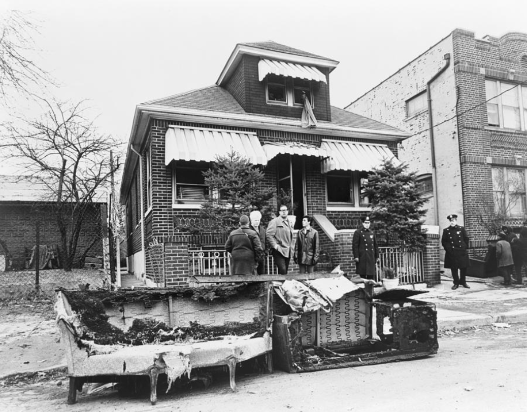 The Elmhurst home immediately following the firebombing