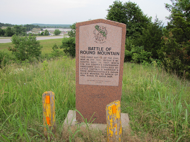 The marker placed to commemorate the battle, near Mannford, Oklahoma.