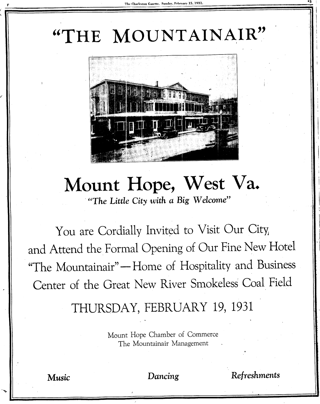 Public Invitation to the Grand Opening of the Mountainair Hotel. This is the front page of a special section of the Charleston Gazette that featured all the amenities of the town of Mount Hope offered travelers to the area.