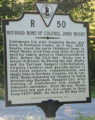 Though no photos of the home site exist, the historical marker is located near the original site of the home of Confederate John Singleton Mosby.
