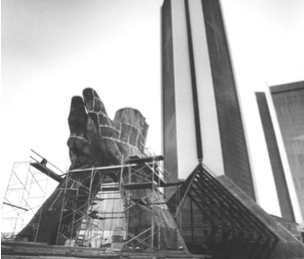 """Image of the construction of the Praying Hands Statue. """"Praying Hands"""" under construction. Photo by Bob Grier. Courtesy """"The Oklahoman."""""""