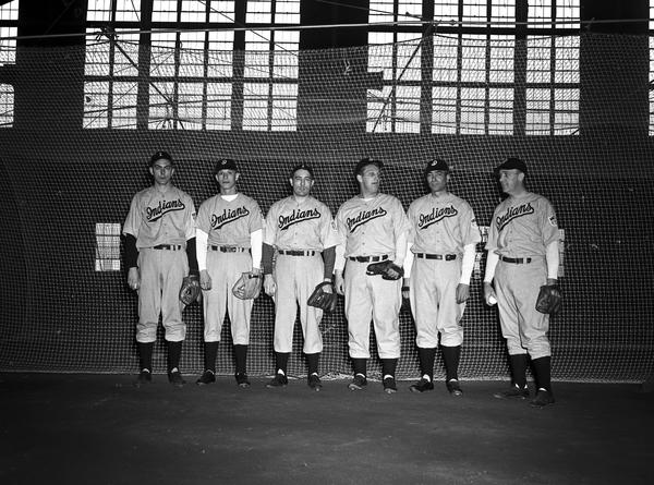 This photo is of the Indianapolis Indians in 1943, standing in the dirt-floored IU Fieldhouse