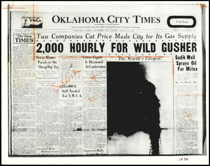 "Photograph used for a story in the Daily Oklahoman newspaper. Caption: ""For 11 days, the Wild Mary Sudik defiled all efforts to shut off her volcano of crude oil and natural gas."""