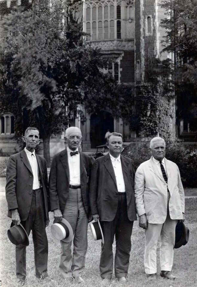 Edwin DeBarr (on the right side in white) was among the very first professors of the University of Oklahoma.
