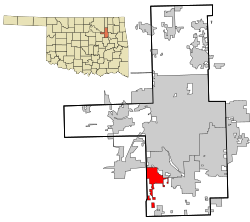This map actually shows the county of Tulsa. As you can see on the zoomed part, the Glenn Pool Oil Field was located in the south west of Tulsa (red zone on picture).