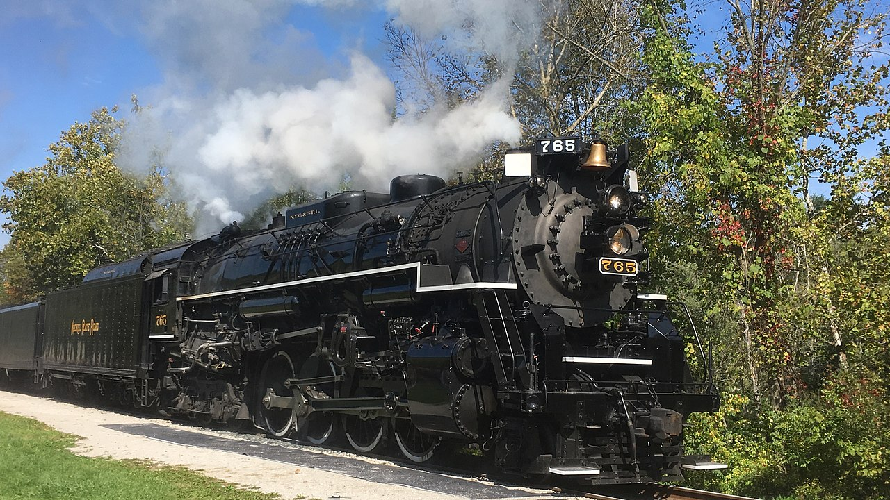 Nickel Plate Road no. 765 was built in 1944 and is a well-preserved example of a late steam era locomotive. It is owned and operated by the Fort Wayne Railroad Historical Society.