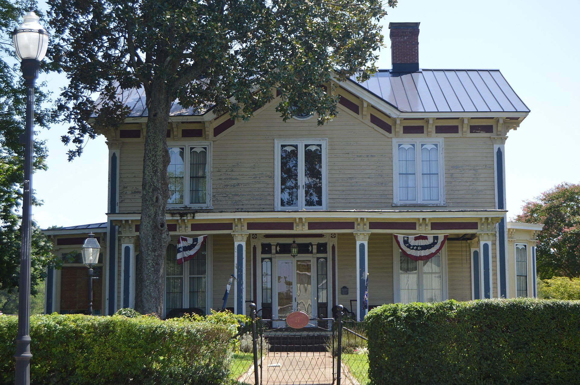 The Italianate exterior of Shadow Lawn was completed in 1870 and the home was once part of the Mineral Springs Hotel.