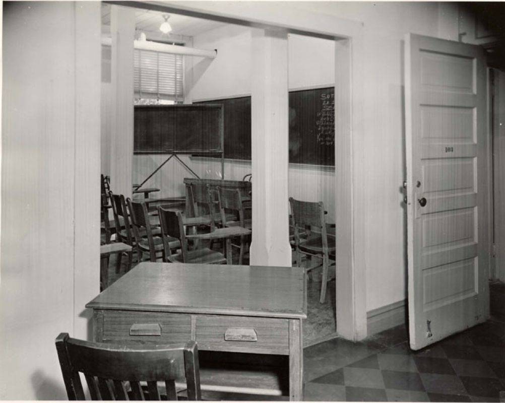 An image from taken from the National Archives website which provides further detail of such facilities. From this image, we can see that McLaurin was provided with a table that was outside of the classroom.