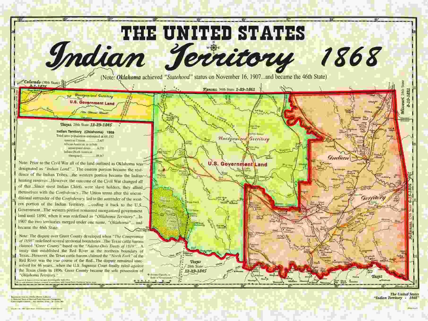 This is a map of Indian Territory within present day Oklahoma in 1868