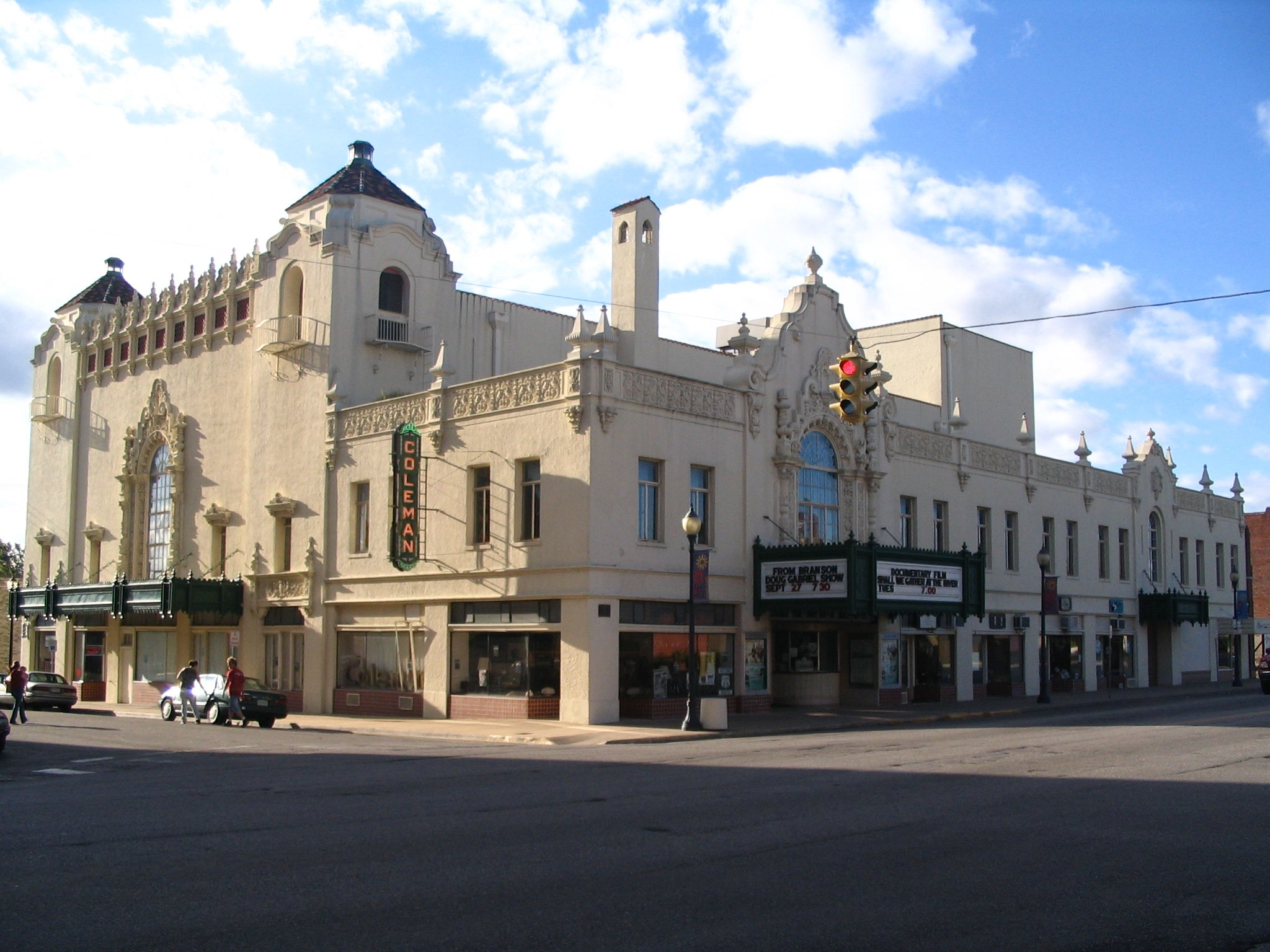 The exterior of the Coleman Theater as viewed from the southeast on North Main St.