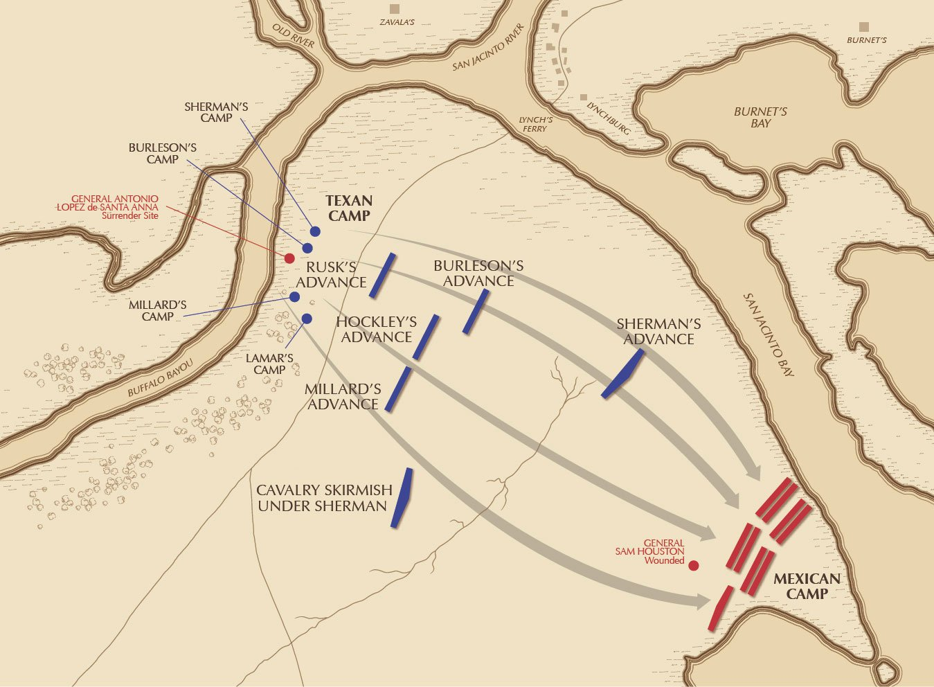 Map of the Battle of San Jacinto provided by the San Jacinto Museum.6 